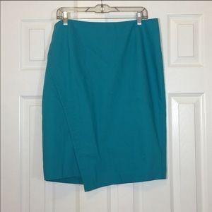 Asymmetrical Teal Pencil Skirt